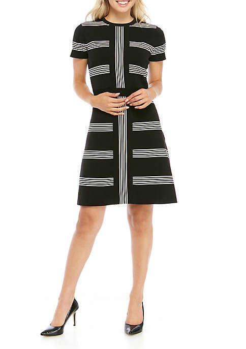 Womens Short Sleeve Striped Sheath Dress