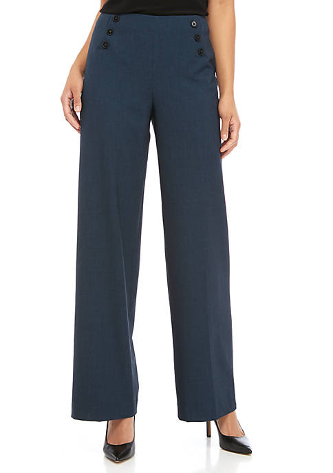 Anne Klein Womens Sailor Button Wide Leg Pants