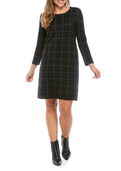 Anne Klein Womens Windowpane Sheath Dress