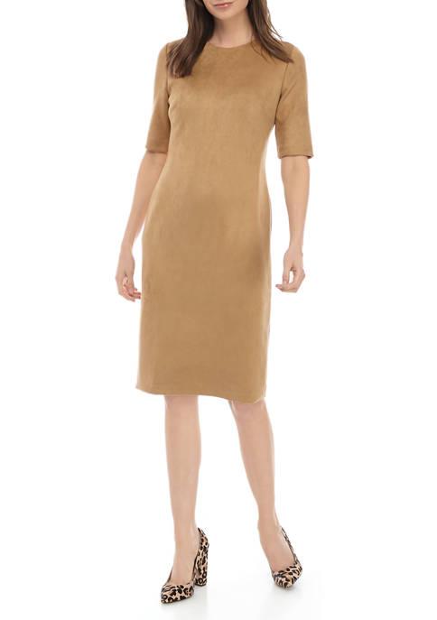 Womens Faux Suede Sheath Dress