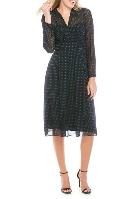 Womens Bulshoi Print V Neck Fit and Flare Dress