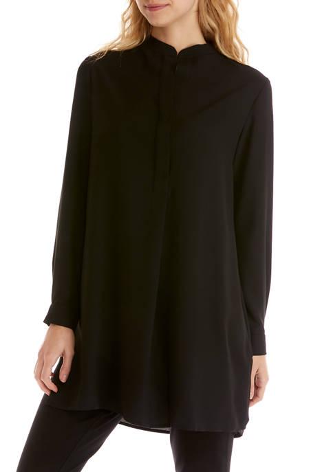 Anne Klein Womens Split Neck Popover Blouse