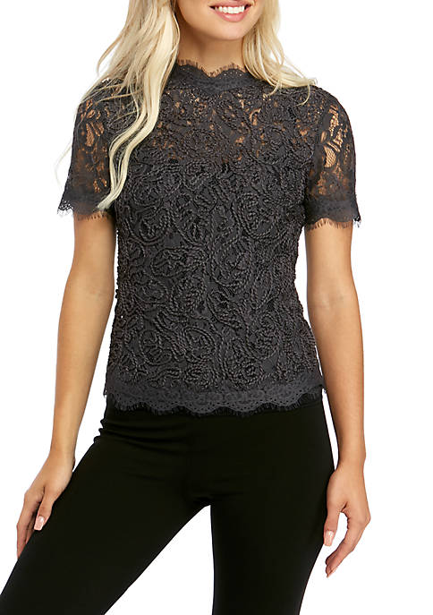 Womens Back Zip Short Sleeve Lace Blouse