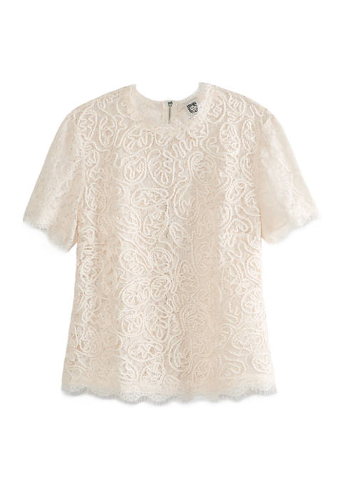 Anne Klein Womens Back Zip Short Sleeve Lace