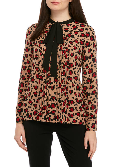 Womens Convoy Leopard Bow Blouse