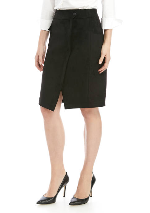 Anne Klein Womens Faux Suede Cargo Skirt