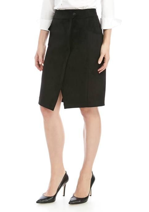 Anne Klein Womens Faux Suede Cargo Skirt