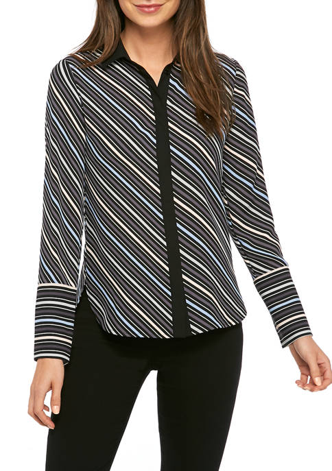 Womens Multi Stripe Tunic Blouse