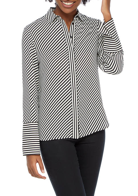 Anne Klein Womens Plaza Stripe Blouse