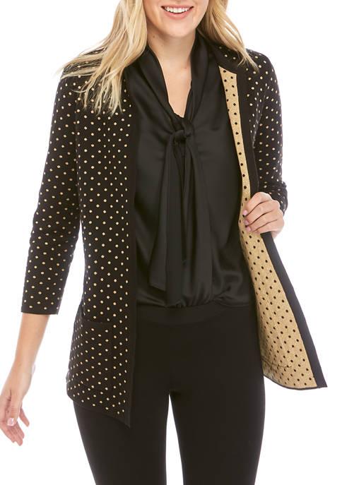 Anne Klein Woment Dot Patch Pocket Cardigan