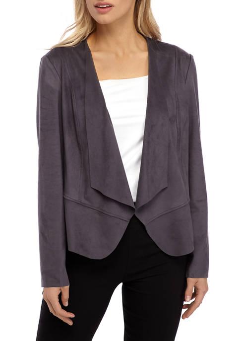 Anne Klein Womens Faux Suede Drape Front Jacket