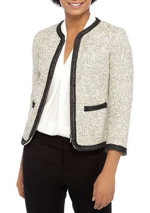 Anne Klein Womens Sparkle Tweed Collarless Jacket