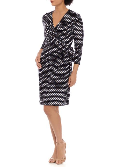 Womens Pearly Dot Print Wrap Dress
