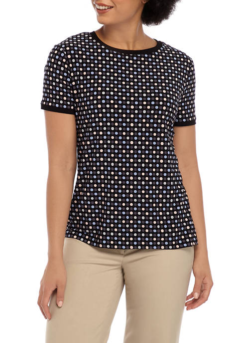 Anne Klein Womens Pearly Dot Button Back Knit