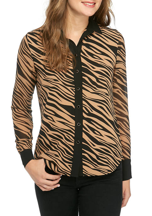 Anne Klein Womens Oasis Button Front Blouse