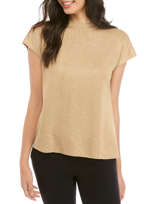 Anne Klein Womens LUREX® Gold Mock Neck Sweater