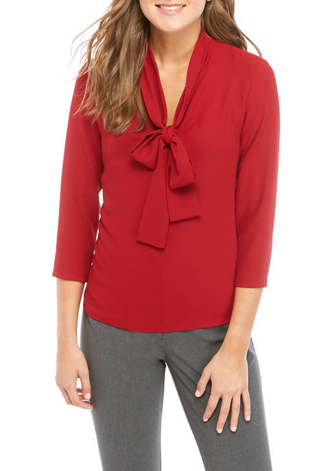 Womens Long Sleeve Bow Blouse