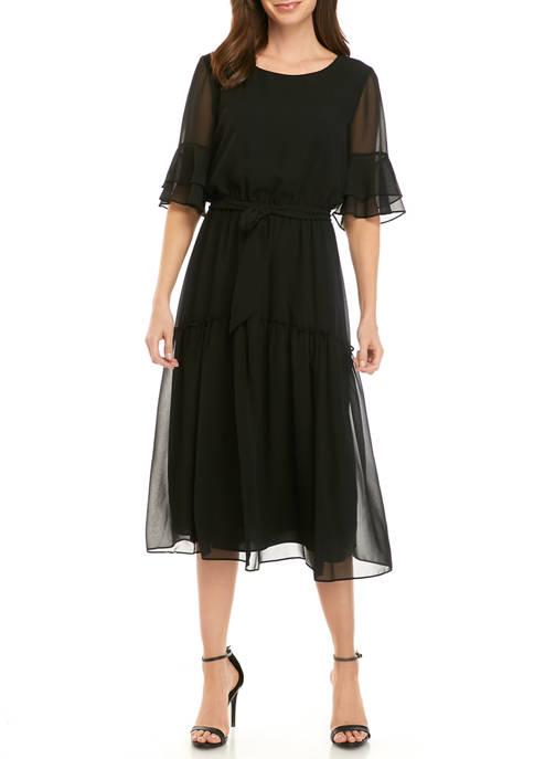 Anne Klein Womens Elastic Bell Sleeve Dress