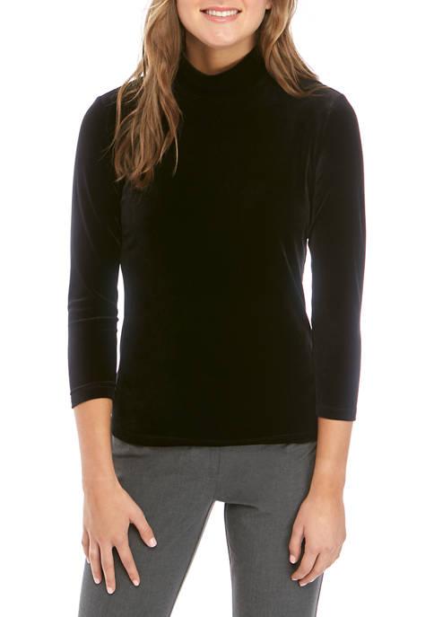 Anne Klein Womens Long Sleeve Velvet Mock Neck