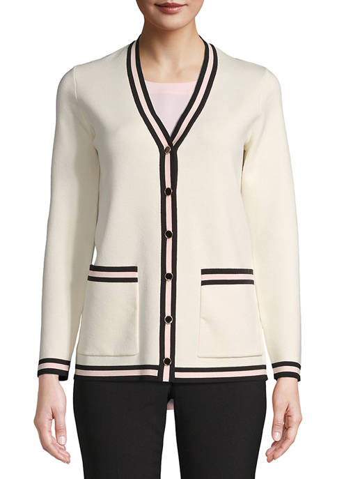 Anne Klein Womens Tipped Cardigan with Pockets