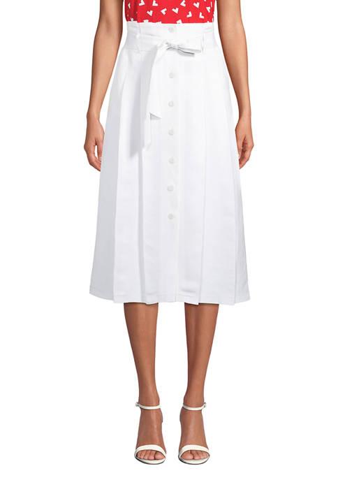 Anne Klein Womens Linen Button Skirt