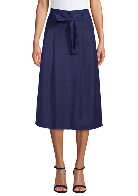 Anne Klein Womens Linen Button Skirt