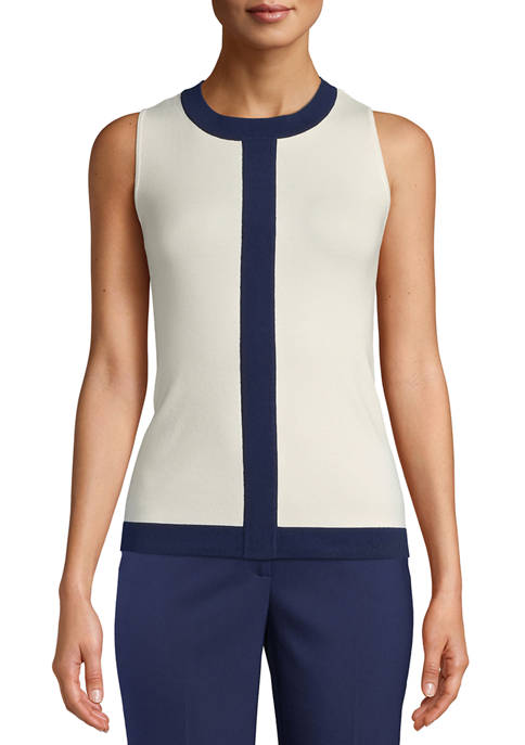 Anne Klein Womens Sleeveless Color Block Knit Top
