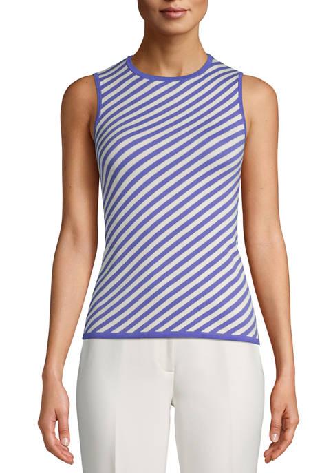 Anne Klein Womens Sleeveless Stripe Tank Top