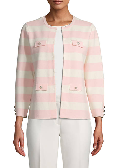 Womens Stripe Cardigan with Flaps