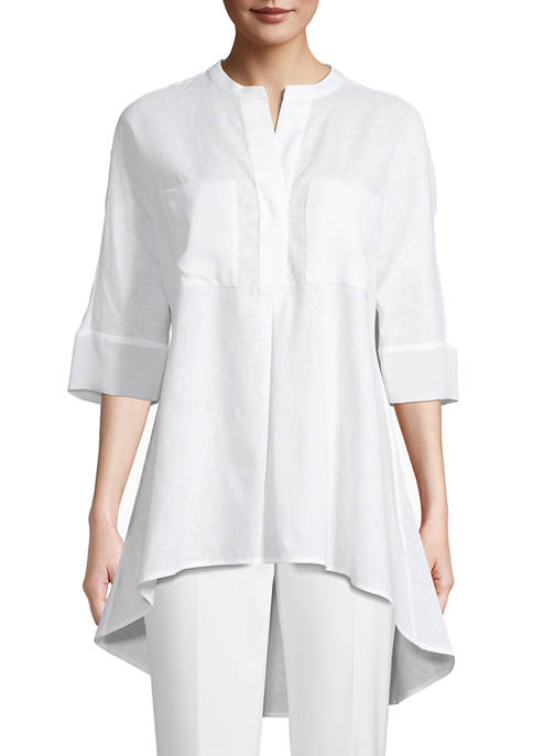 Anne Klein Womens Elbow Sleeve Tunic with Pockets