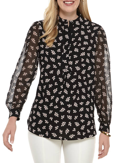 Anne Klein Womens Blouson Sleeve Printed Tunic Blouse