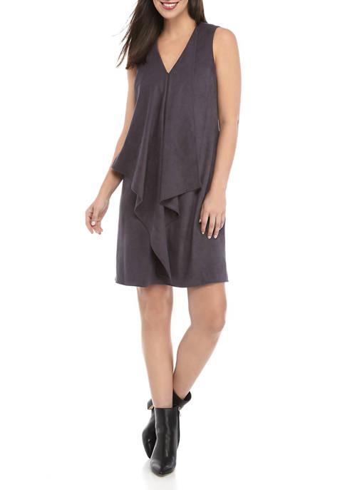 Anne Klein Womens Sleeveless Suede Dress