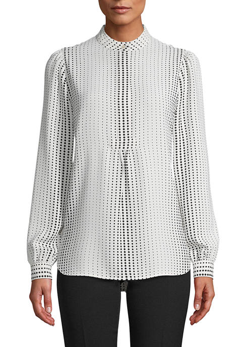 Anne Klein Womens Long Sleeve Dot Tunic
