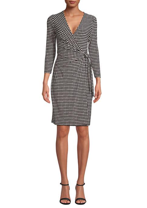 Anne Klein Womens Long Sleeve Dot Wrap Dress