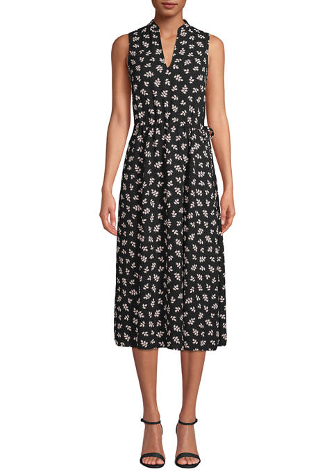 Anne Klein Womens Sleeveless Partitioned CDC Midi Dress