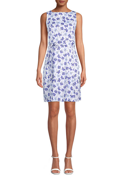Anne Klein Womens Sleeveless Print Fit and Flare
