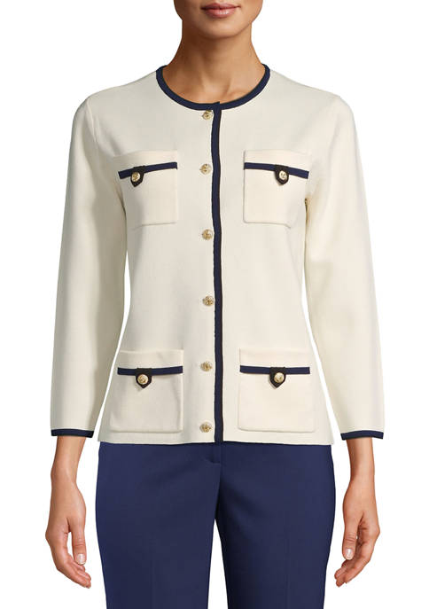 Anne Klein Womens 4 Pocket Button Cardigan
