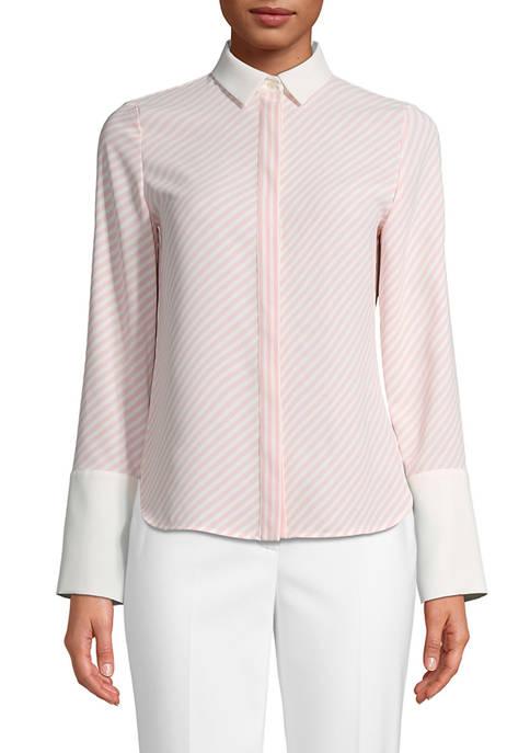 Womens Long Sleeve Stripe CDC Oxford Top