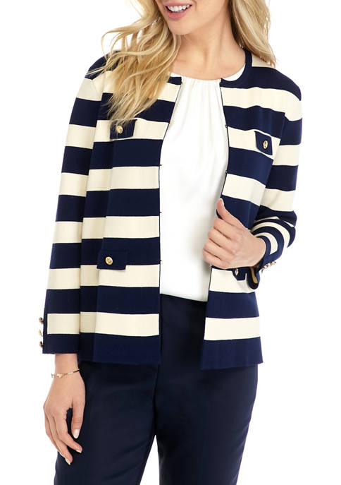 Anne Klein Womens Striped Sweater