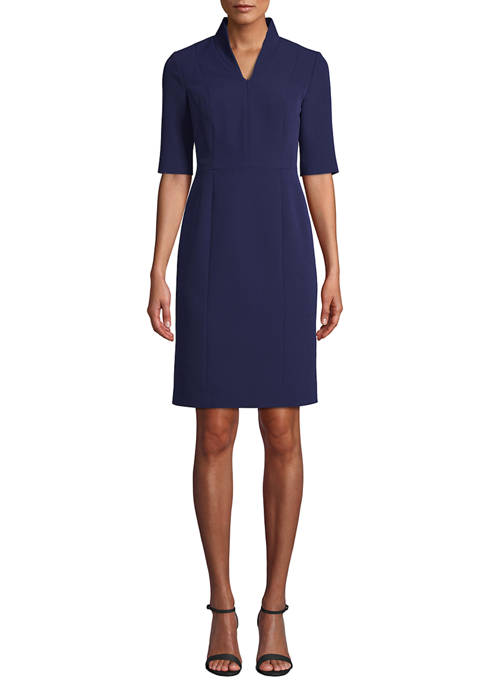 Anne Klein Womens Elbow Sleeve Crepe Sheath Dress