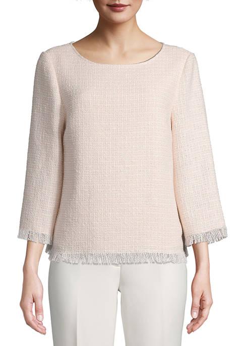 Anne Klein Womens 3/4 Sleeve Tweed Blouse