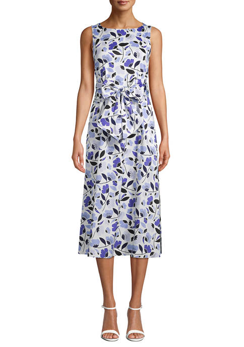 Anne Klein Womens Sleeveless Floral Midi Dress