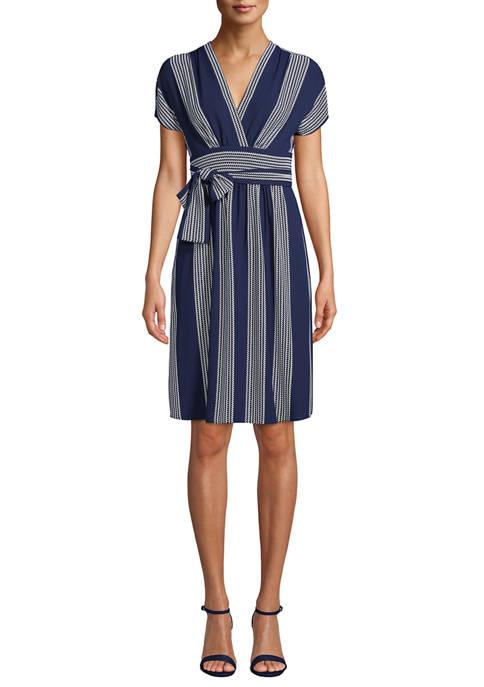 Anne Klein Womens Bilbeo Stripe V-Neck Wrap Dress