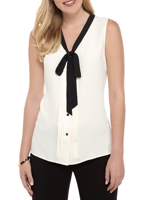 Anne Klein Womens Sleeveless Tie Neck Blouse