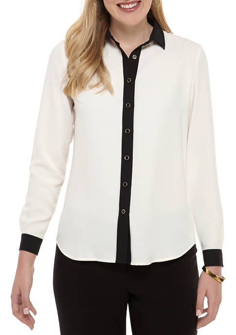 Womens Long Sleeve Tipped Button Front Blouse