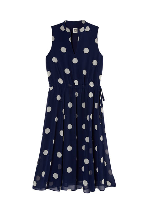 Anne Klein Womens Dot Drawstring Midi Dress