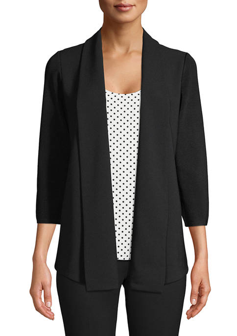 Anne Klein Womens Long Sleeve Mix Media Cardigan
