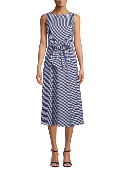 Womens Mini Check Print Midi Dress with Sash