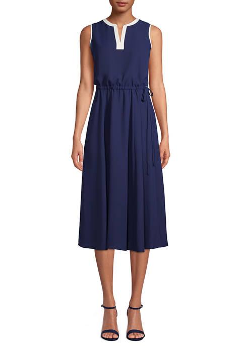 Anne Klein Womens Sleeveless Midi Dress