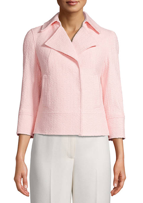 Anne Klein Womens Tweed Snap Front Jacket